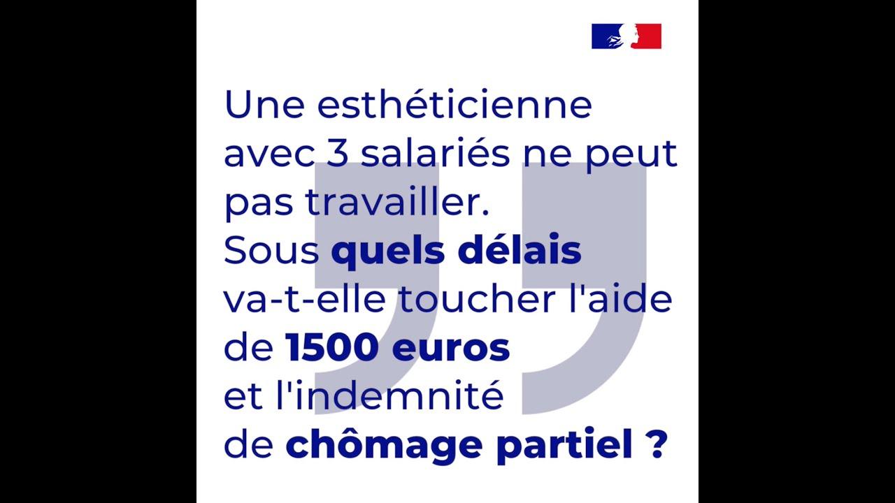 Sous quel délais une TPE va-t-elle toucher l'aide de 1500€ et l'indemnité de chômage partiel ?