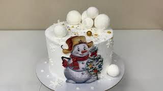 Эффект Бархатного торта Новогодний торт Снеговик Торт 2021 Красивый торт