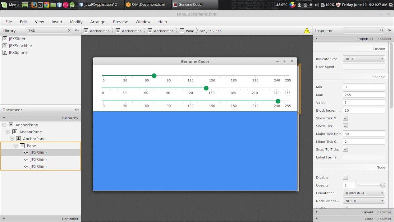 JavaFx JFoenix Tutorial #6 : Material Slider with JFXSlider