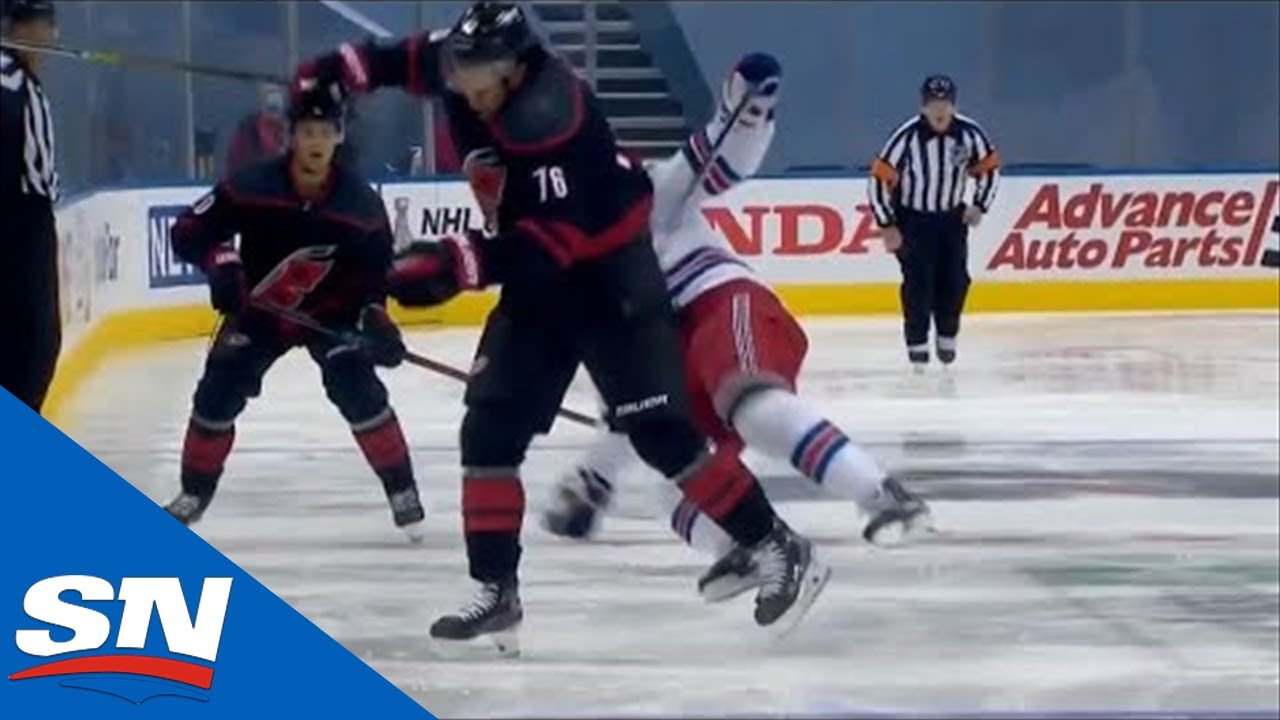 Brady Skjei Absolutely Crunches Jesper Fast With Open Ice Hit