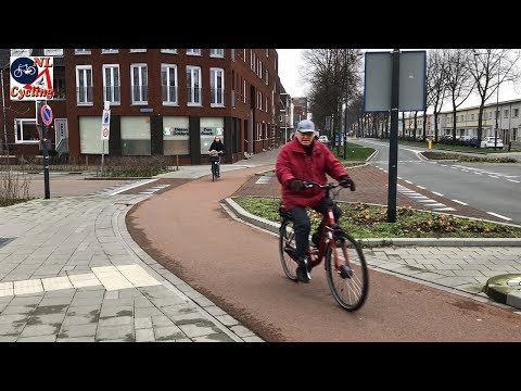 Typical Dutch intersection and cycling