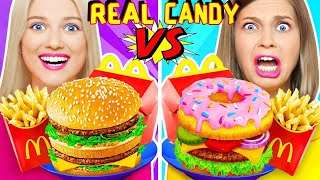 REAL VS CANDY FOOD || Yummy DIY Food Challenges by RATATA! Last To STOP Eating Wins!