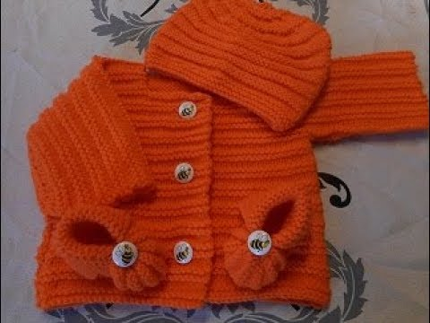 af73585f31aa8 tuto tricot brassière gilet bébé - YouTube