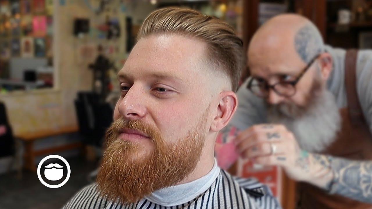 Beard Fade With Slick Back Haircut Youtube