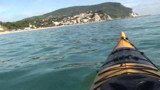 Luca in kayak tra i delfini a Numana - 5.9.2011