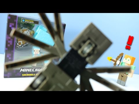 Thumbnail: Minecraft Survival Mode Figures Toys Crawling Spider Alex & Cyan Sheep