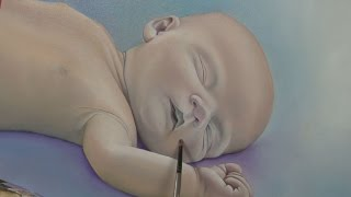 Art Lesson : How to paint a portrait of a baby with the  h2o Water Mixable Oil Paints
