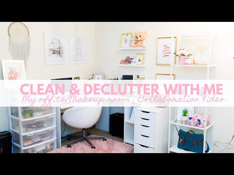 DECLUTTER & CLEAN WITH ME   MAKEUP AND OFFICE ROOM   ORGANIZATION