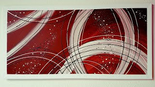 Malen Acryl Abstrakt Linien mit Kontrast - abstract acrylic painting lines with contrast