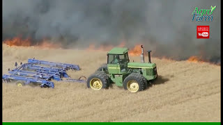 tractors & combines in fire