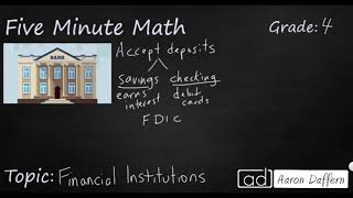 4th Grade Math Personal Financial Literacy: Financial Institutions