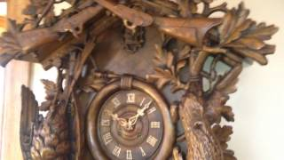 Rare 5 Foot Antique Carved Black Forest 8 Day Fusee Cuckoo Clock C.1890 For Sale