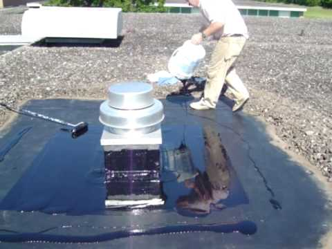 Application Of Liquid Rubber With Squeegee Epdmcoatings