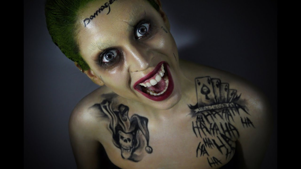 Joker suicide squad makeup tutorial youtube for Suicide squad face tattoo