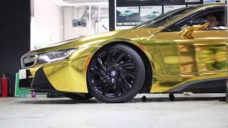 BMW I8 dán mạ vàng Gold Chrome - Teckwrap USA | H2 Decal