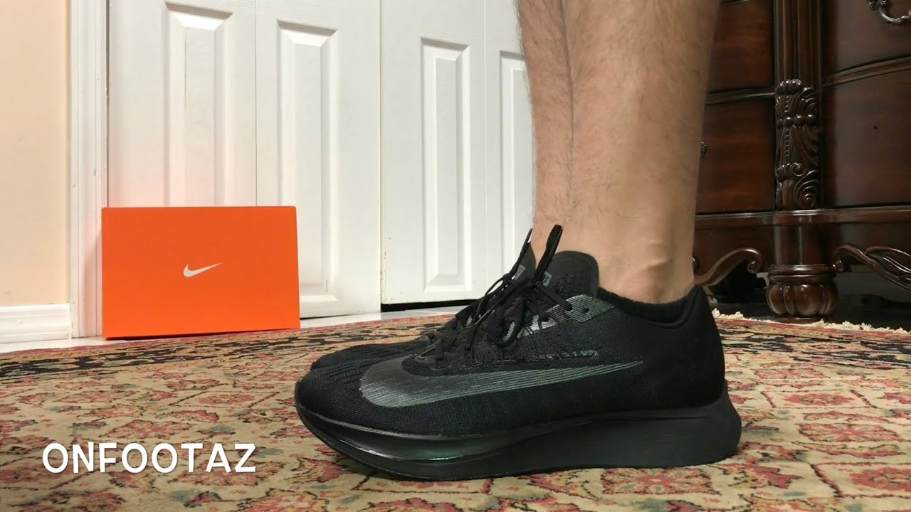6eb3bc3875d11 Nike Zoom Fly Triple Black On Foot - YouTube