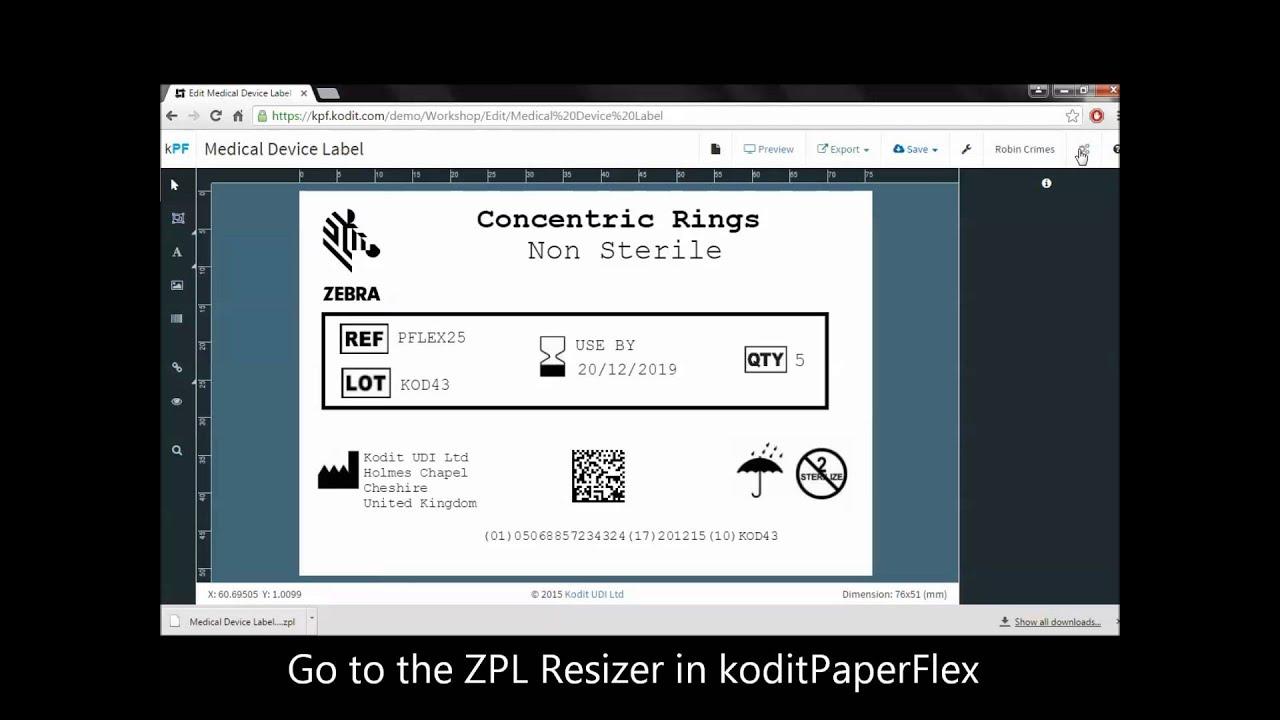 Resizing a ZPL in koditPaperFlex