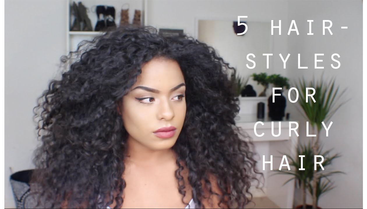 5 QUICK EASY HAIRSTYLES FOR LONG CURLY HAIR - YouTube