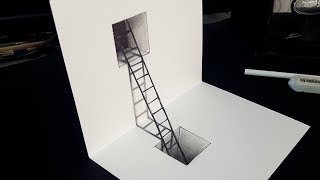 Easy Drawing! How to Draw 3D Stairs in a Hole | 3D Trick Art for Kids
