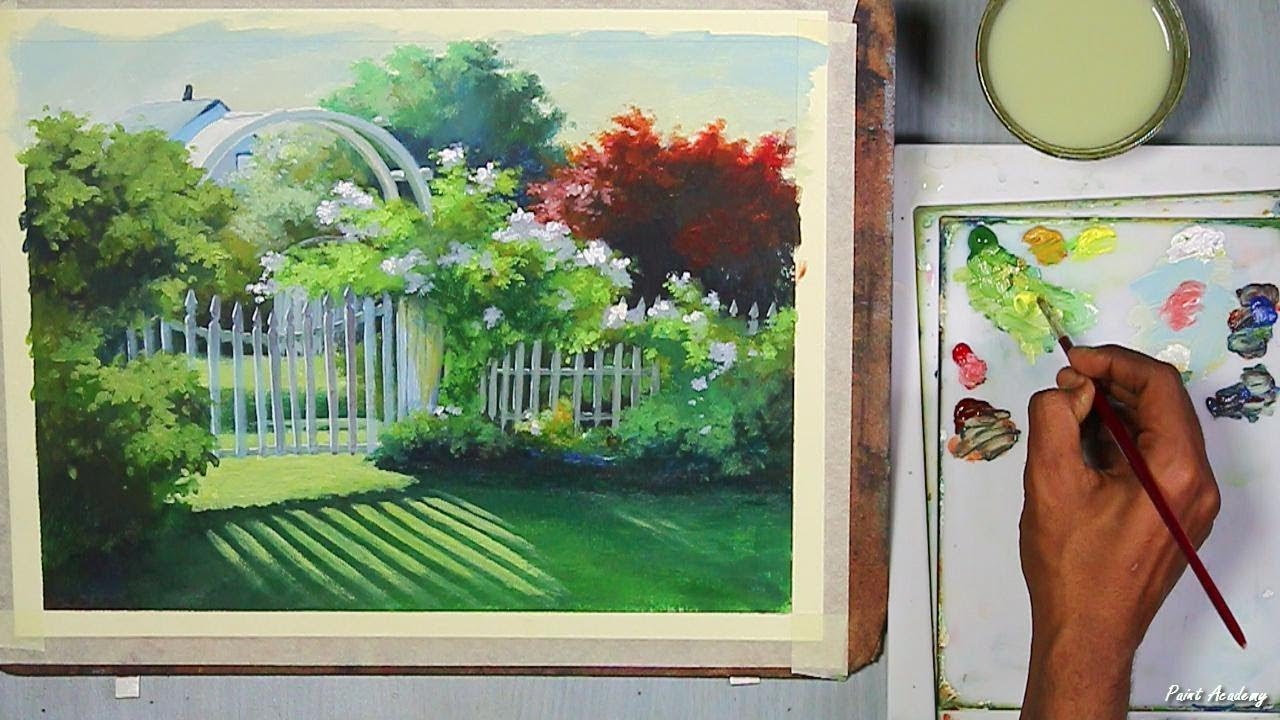 Acrylic Painting Beautiful Garden Gate Step By
