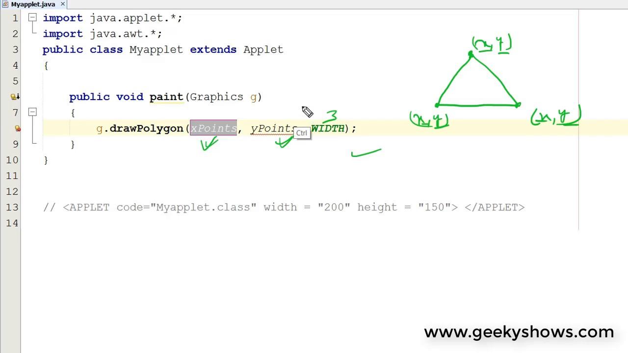 Draw Polygon In Java Applet Hindi Youtube