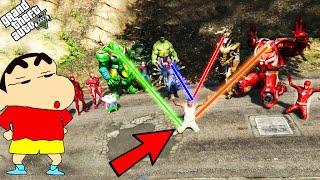 GTA 5 : SHINCHAN &amp Avengers Army VS Thanos in GTA 5 !  Techerz