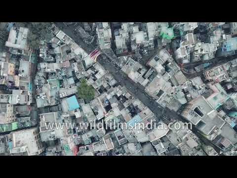 Chandni Chowk: aerial view of oldest, most crowded urban agglomeration in north India