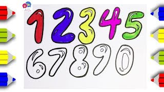 How to Draw Bubble numbers 0-9 | Learn Numbers | An Pi TV Coloring
