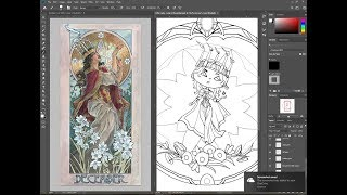 Inking the Little Ladies of the Months Coloring Book Pages PART 11