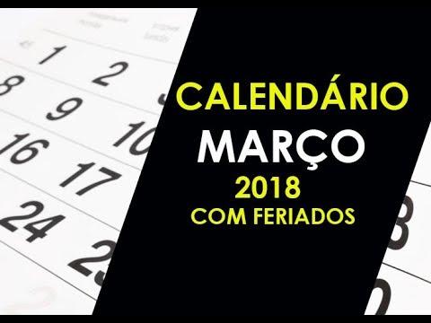 CALENDÁRIO MARÇO 2018 COM FERIADOS E DATAS COMEMORATIVAS
