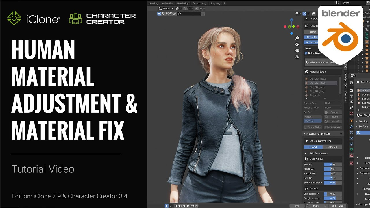 blender animation - human material adjustment and material fix for Blender 3D character