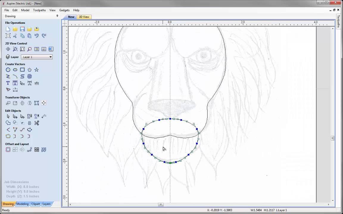 Vectric Lion Head Door Knocker Drawing