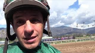Jockey Victor Espinoza returns to the races at Santa Anita