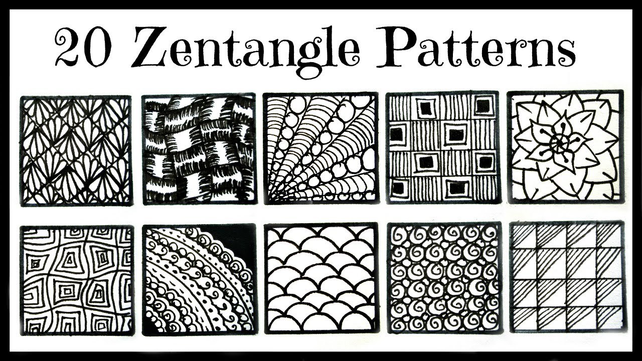picture regarding Printable Zentangle Patterns called Very simple- 20 Zentangle Behaviors for Newbies