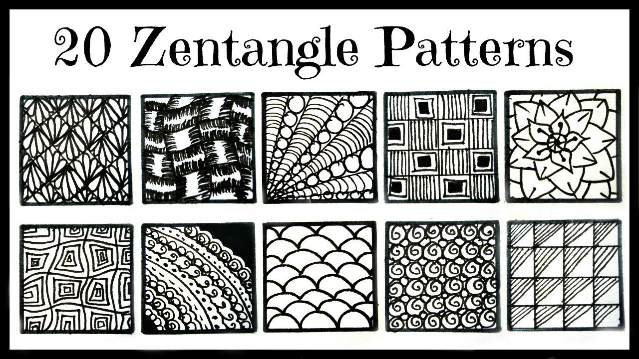 Easy 20 Zentangle Patterns For Beginners Youtube