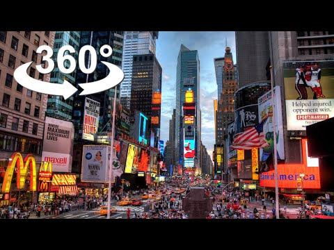 360 degree TIMES SQUARE, New York City, VR 360 Video.