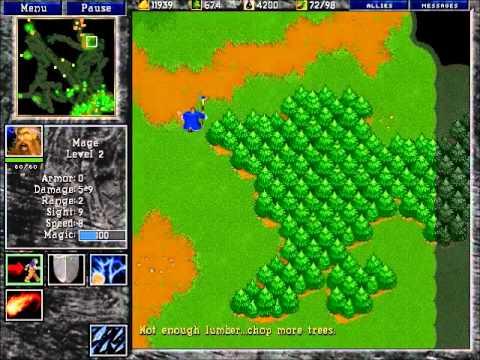 Warcraft 2 Human Gameplay: 1v1 on Garden Of War