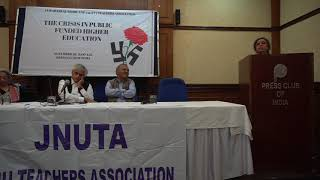 Prof. Ira Bhaskar at JNUTA's Convention on The Crisis in Public Funded Higher Education