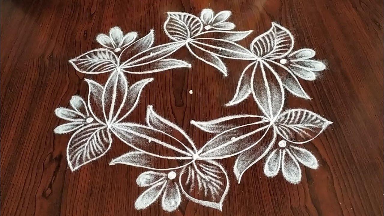 Easy latest Lotus flower design (5×3) dot's...