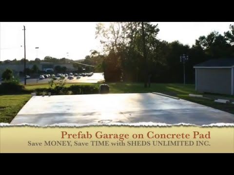 Portable One Car Garage on a Concrete Pad - YouTube
