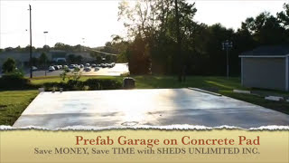 Portable One Car Garage On A Concrete Pad