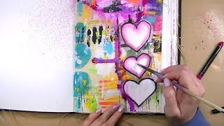 Art Journal Page | Dina Wakley Media Journal Canvas + Scribble Sticks & DWM Paints