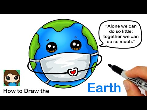 how-to-draw-the-earth-wearing-a-mask-|-coronavirus-awareness-art