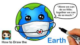How to Draw the Earth wearing a Mask | Coronavirus Awareness Art