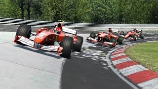 Cockpit F1 Ferrari F2004 vs Ferrari F138 vs Ferrari SF15-T at Nordschleife