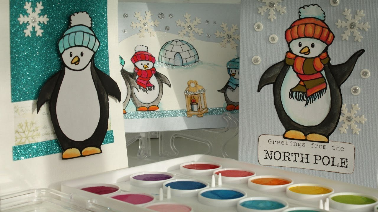 Diy Penguin Christmas Cards With Free Printable Penguins Youtube