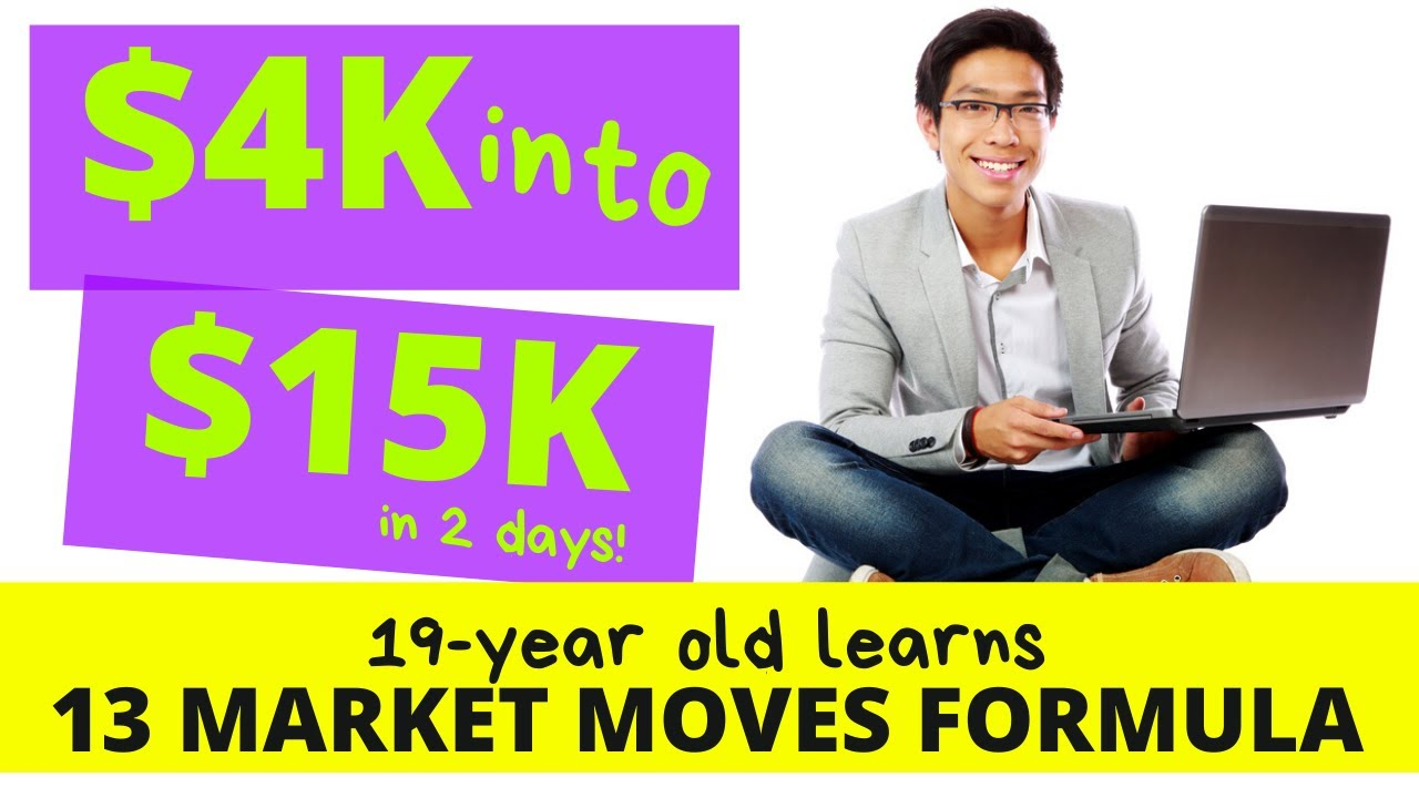 SWING TRADING $4k into $15k in 2 days:  19 year old learns 13 market moves formula