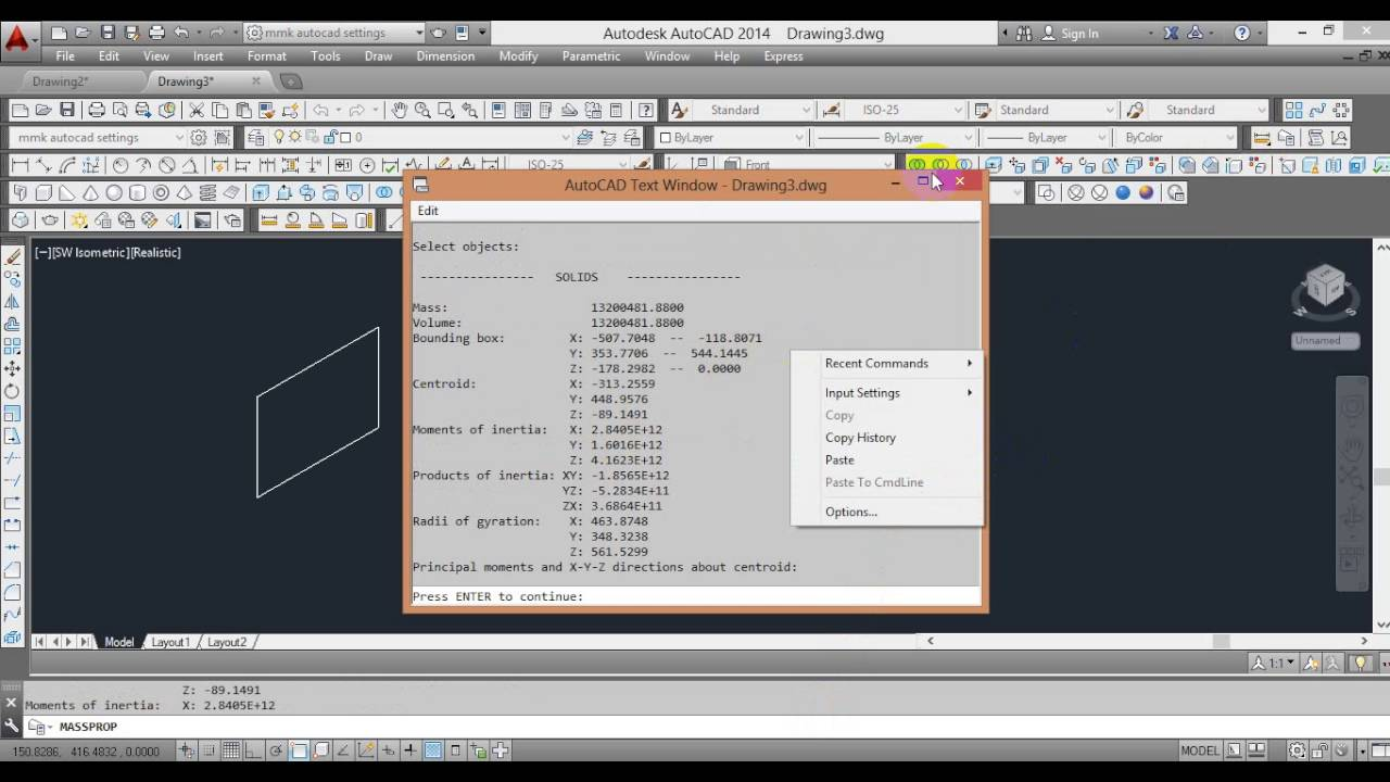 Autocad Tutorial : REGION MASS PROPERTY