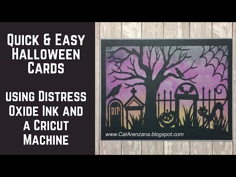 Quick & Easy Halloween Cards Using Distress Oxide Inks & Cricut