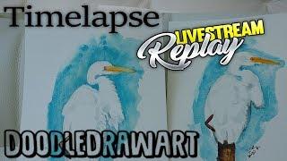 Watercolor Painting - White Heron - TIMELAPSE -  Livestream Recap -30x30directwatercolor2018